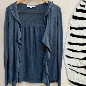 LOFT OPEN FRONT CARDIGAN with ruffle and LS